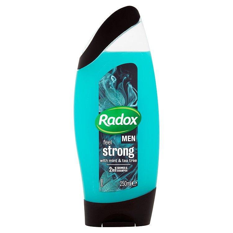 Fotografie Radox Men Feel strong mint & tea tree 2v1 pánský sprchový gel a šampon 250 ml