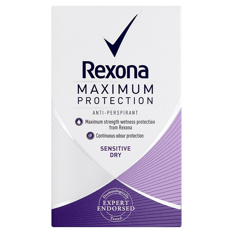 Fotografie Rexona Maximum Protection Sensitive antiperspirační krém 45 ml