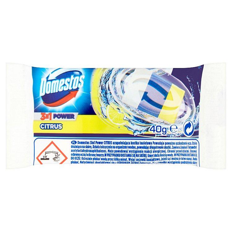 Fotografie Domestos 3 v 1 toaletní blok, náhradní náplň 40 g, Citrus