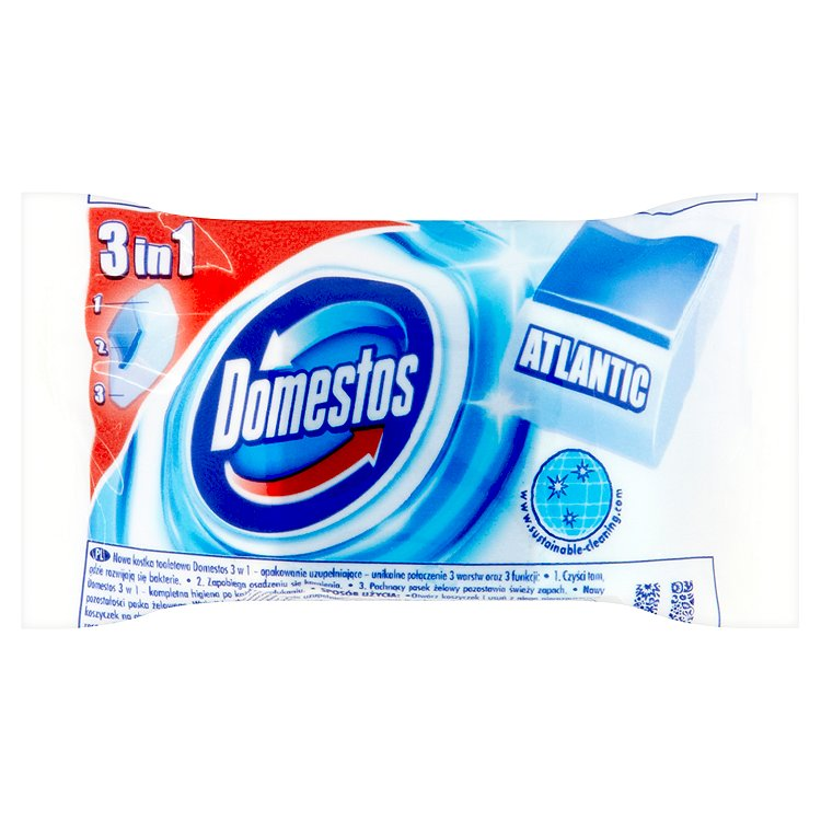 Domestos 3 v 1 toaletní blok, náhradní náplň 40 g, Atlantic