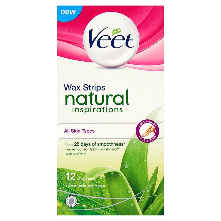 Fotografie Veet Natural Inspirations voskové pásky s Aloe Vera 12 ks
