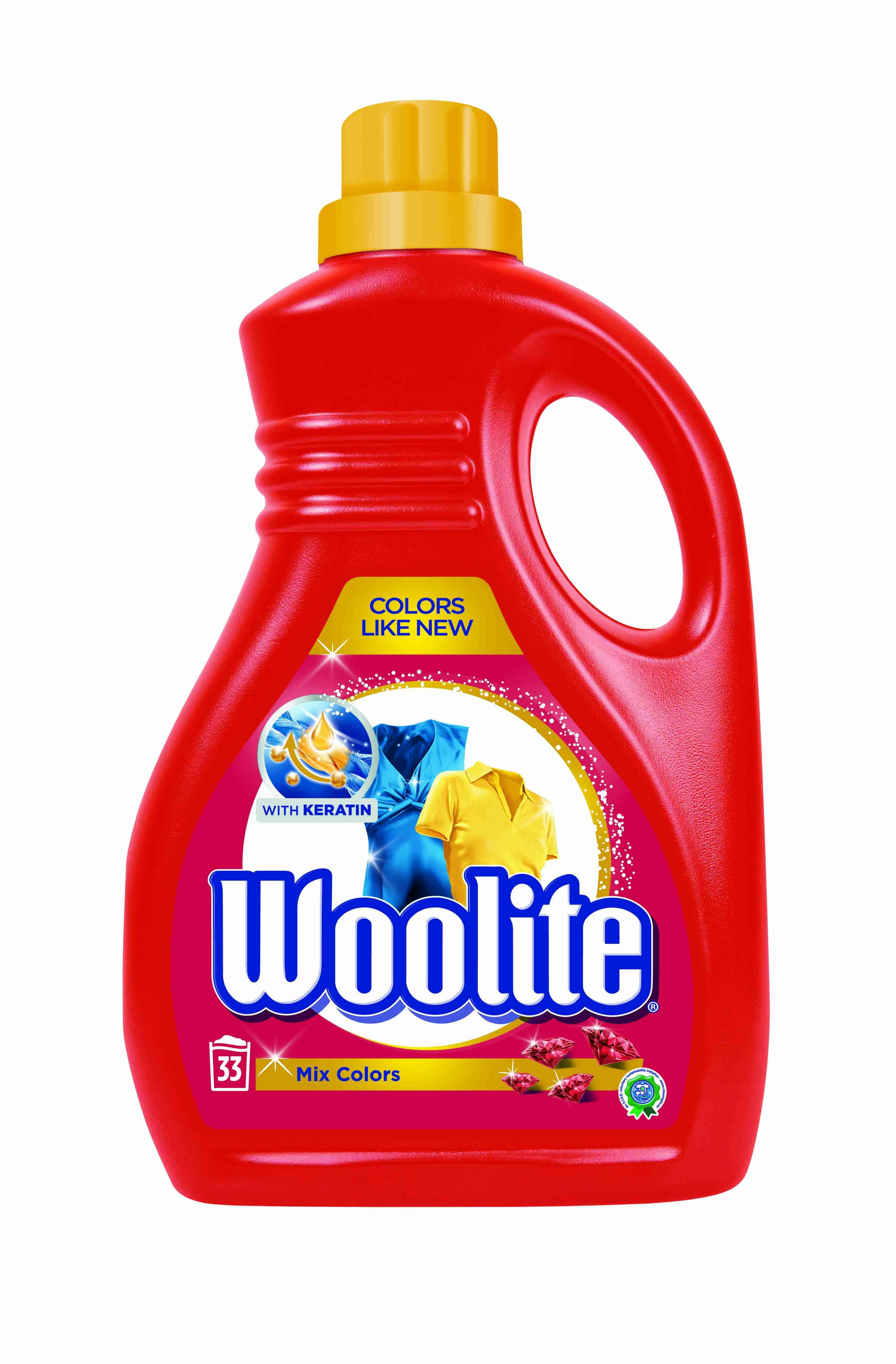 Woolite Mix Colors s keratinem tekutý prací prostředek na barevné prádlo, 33 praní 2 l