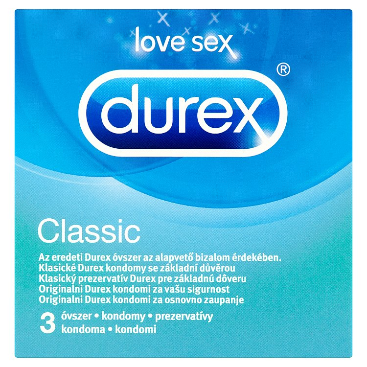 Durex Classic easy-on kondomy s lubrikantem 3 ks