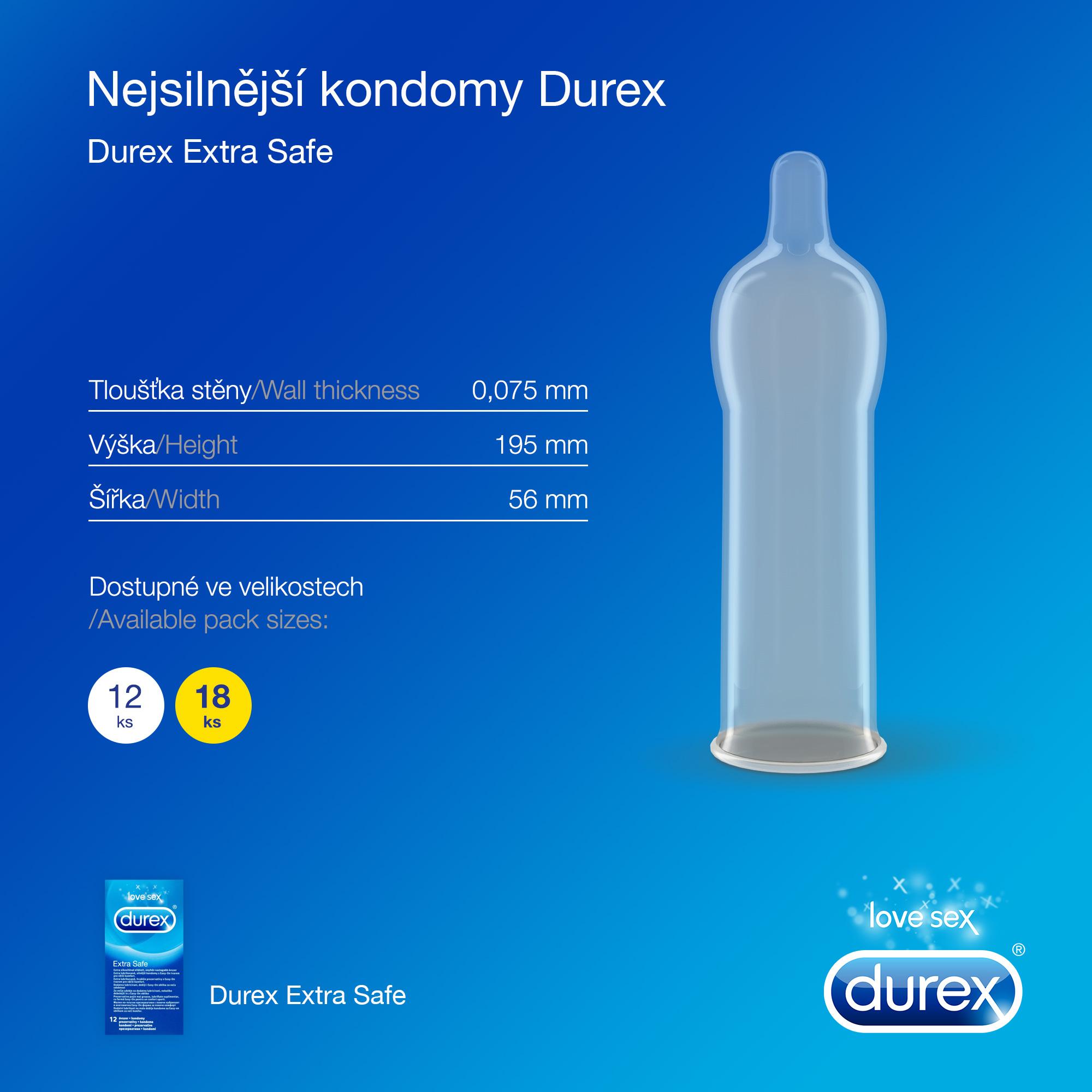 Durex Extra Safe extra lubrikované silnější kondomy s Easy-On tvarem pro větší komfort 12 ks