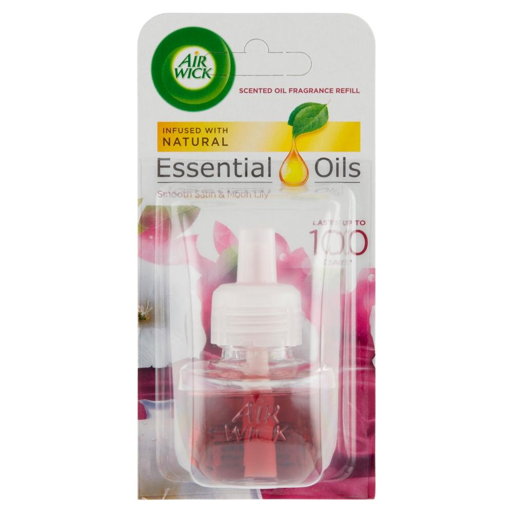 Air Wick Essential Oils náplň do elektrického přístroje jemný satén a měsíční lilie 19 ml