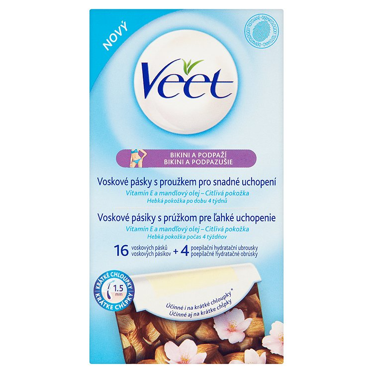 Veet Voskové pásky podpaží a bikini s vitaminem E & mandlovým olejem 16 ks