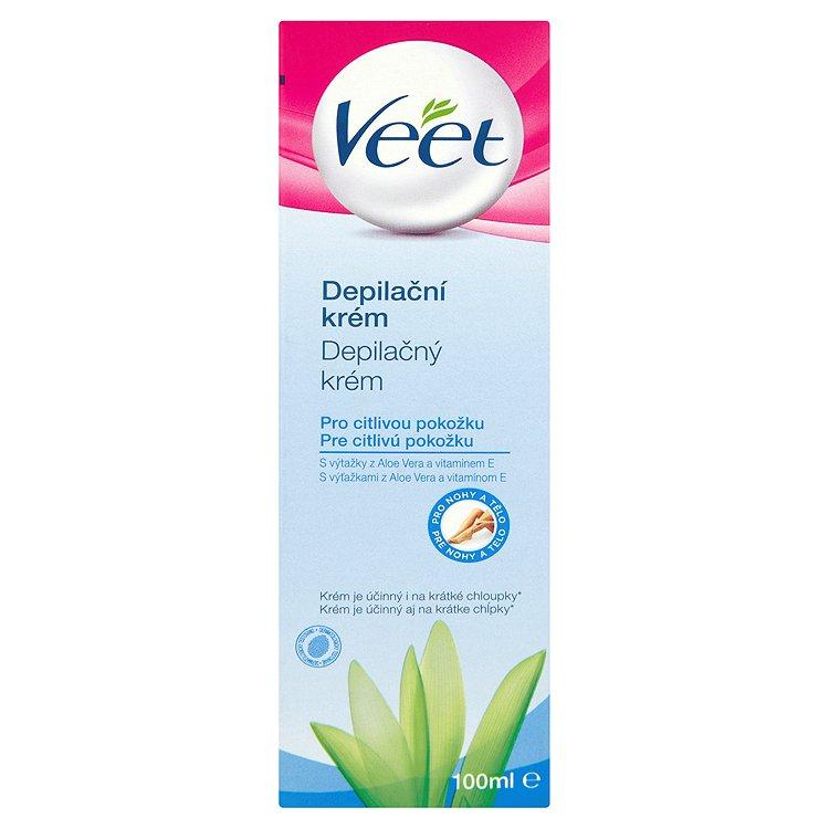 Veet Depilační krém pro citlivou pokožku s aloe vera & vitamínem E pro nohy a tělo 100 ml