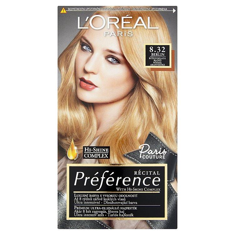 L'Oréal Paris Préférence Paris Couture Berlin růžovozlatá blond 8.32