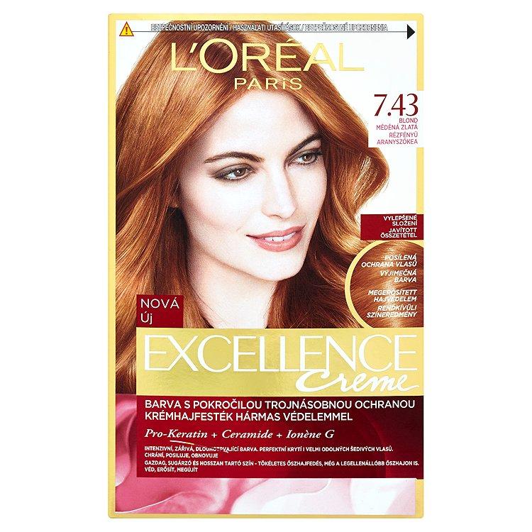 L'Oréal Paris EXCELLENCE CRÈME barva na vlasy blond měděná zlatá 7.43