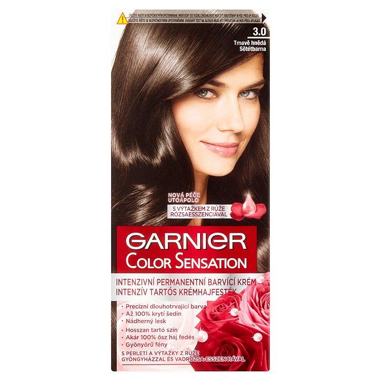 Fotografie Garnier Color Sensation Intenzivní permanentní barvicí krém tmavě hnědá 3.0