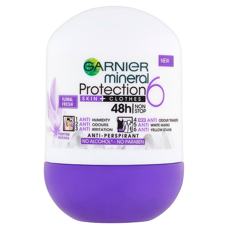 Fotografie Garnier Minerální antiperspirant 5 Protection Floral Fresh 48h Roll-on pro ženy 50 ml