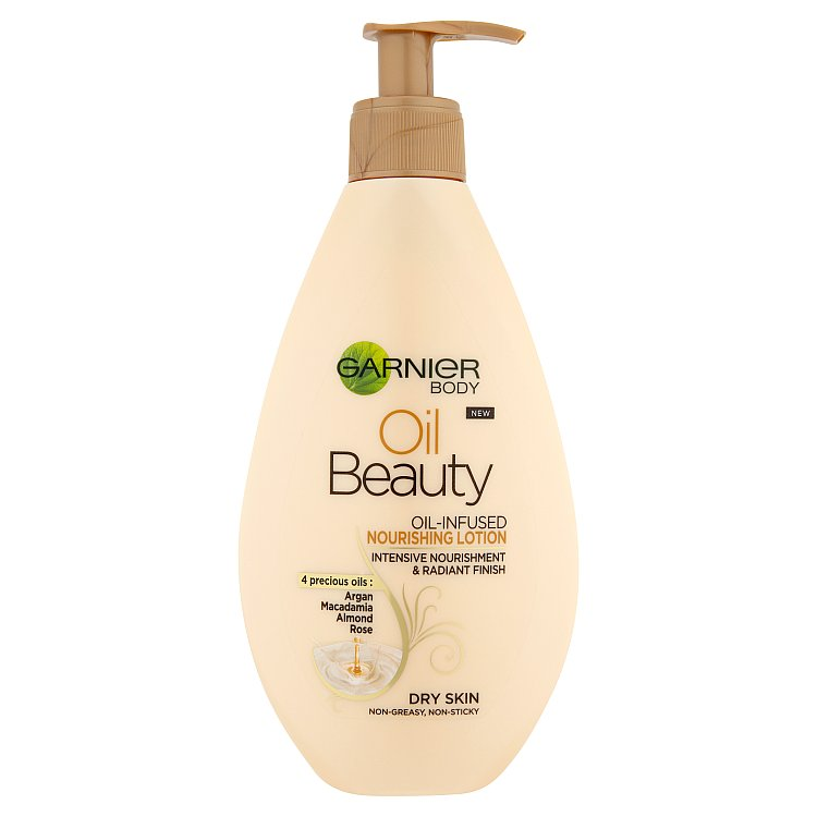 Fotografie Garnier Body Oil Beauty vyživující olejové tělové mléko 250 ml