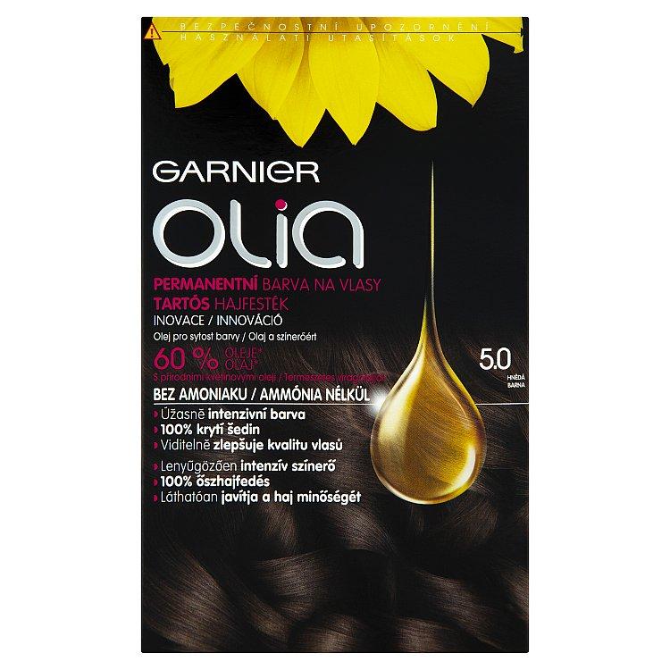 Fotografie Garnier Permanentní olejová barva na vlasy bez amoniaku Olia 5.0 hnědá