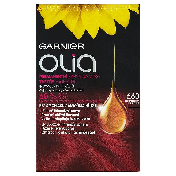 Fotografie Garnier Permanentní olejová barva na vlasy bez amoniaku Olia 6.60 intenzivní červená