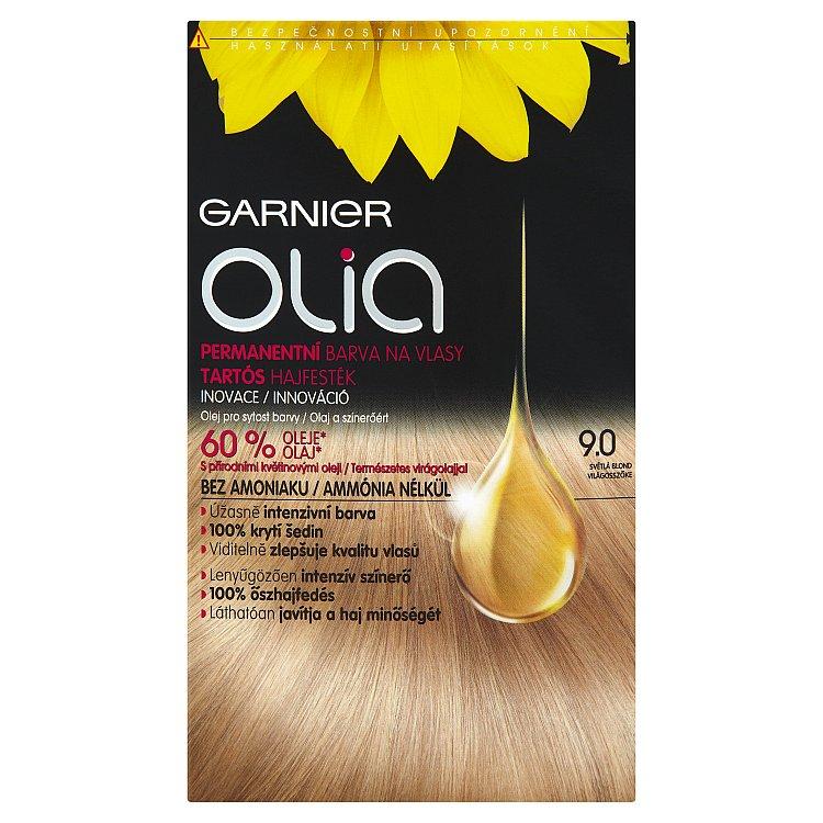 Fotografie Garnier Permanentní olejová barva na vlasy bez amoniaku Olia 9.0 světlá blond