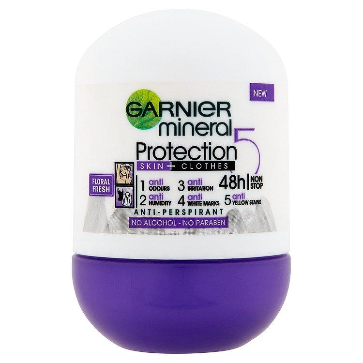 Fotografie Garnier Minerální antiperspirant 5 Protection Floral Fresh 48h Roll-on pro ženy 50 ml