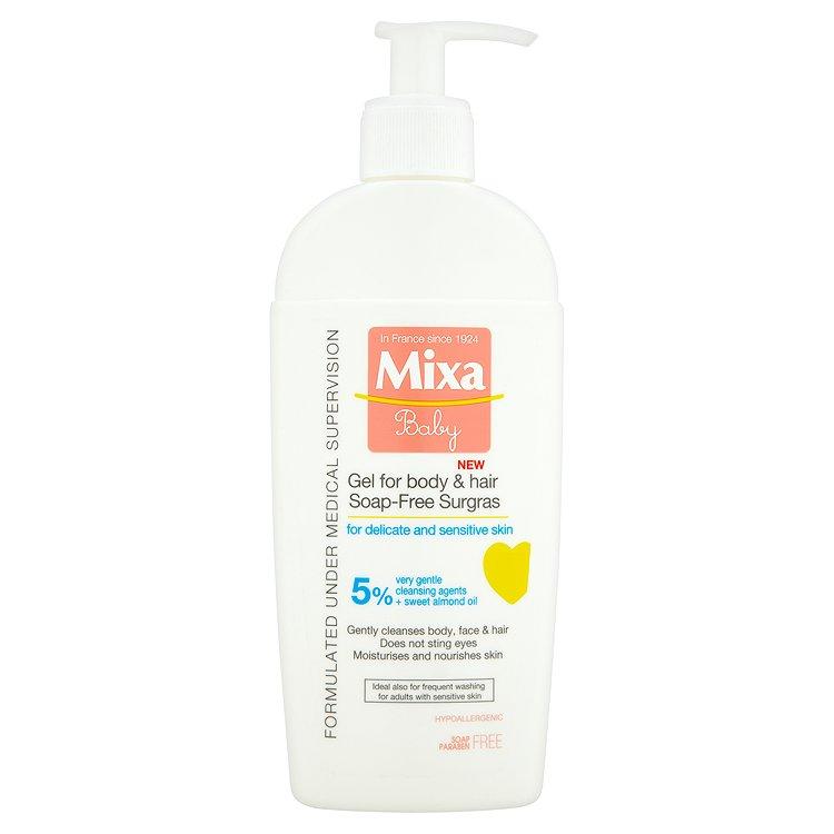Fotografie Mixa Baby Extra vyživující mycí gel na tělo a vlásky 250 ml