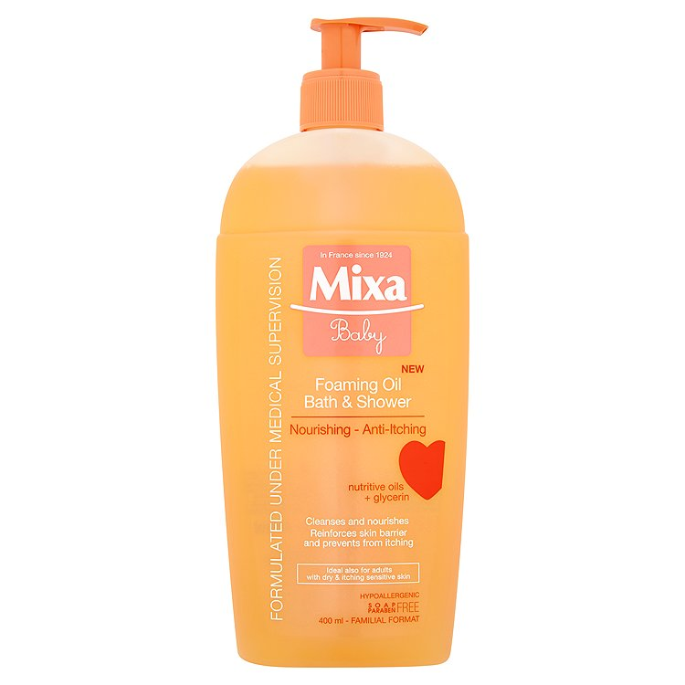 Mixa Baby Pěnivý olej do sprchy i do koupele 400 ml