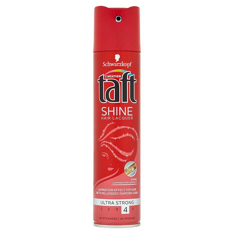 Fotografie Taft Shine lak na vlasy ultra silná fixace 250 ml
