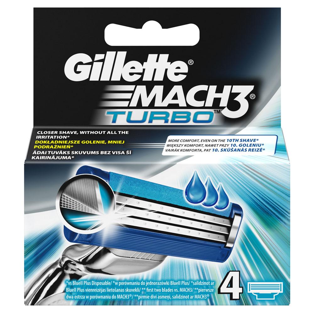 Gillette Mach 3 Turbo náhradní hlavice do holícího strojku 4 ks