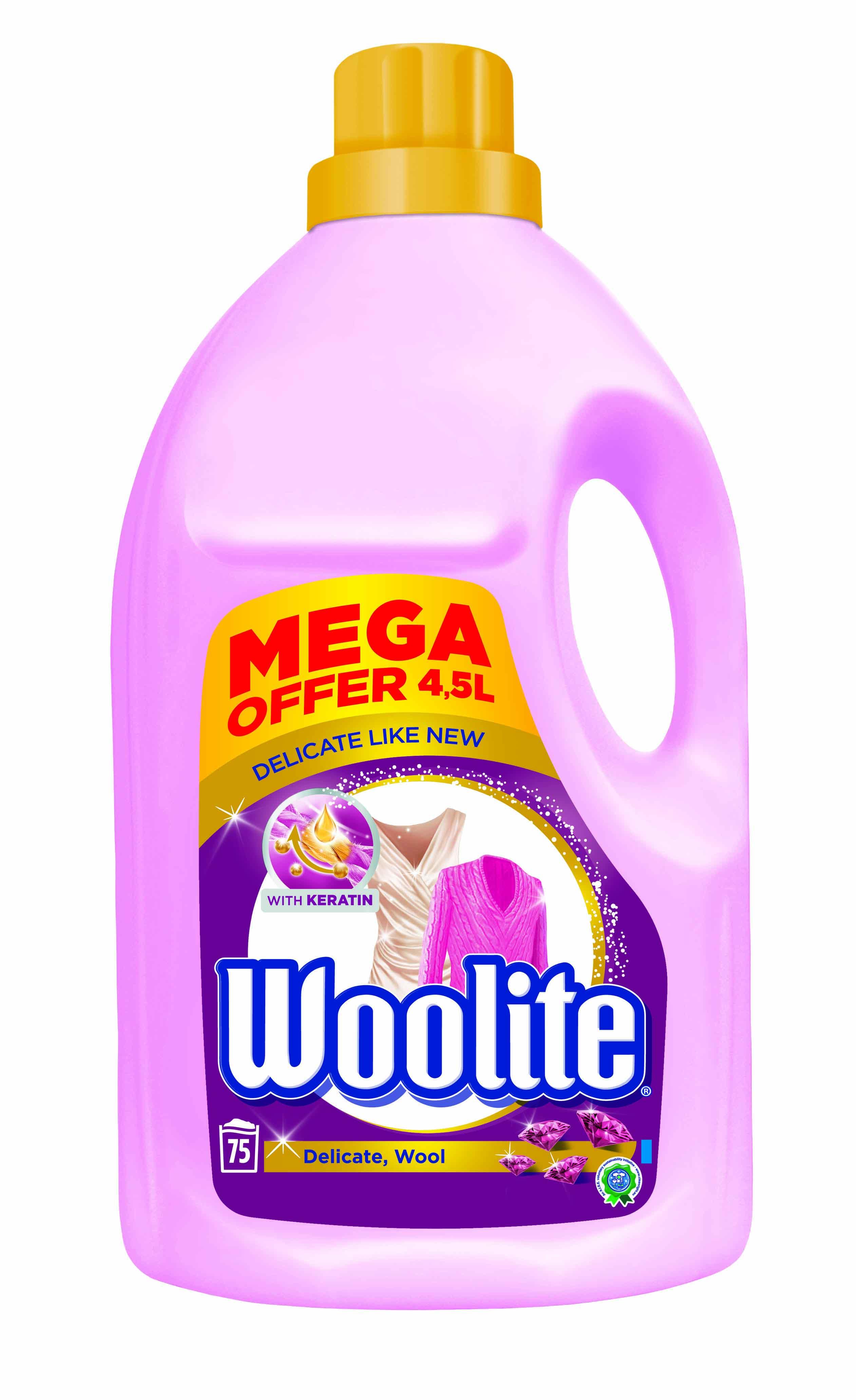 Fotografie Woolite Extra Delicate Protection tekutý prací prostředek na praní jemného a vlněného prádla 75 dávek 4,5 l