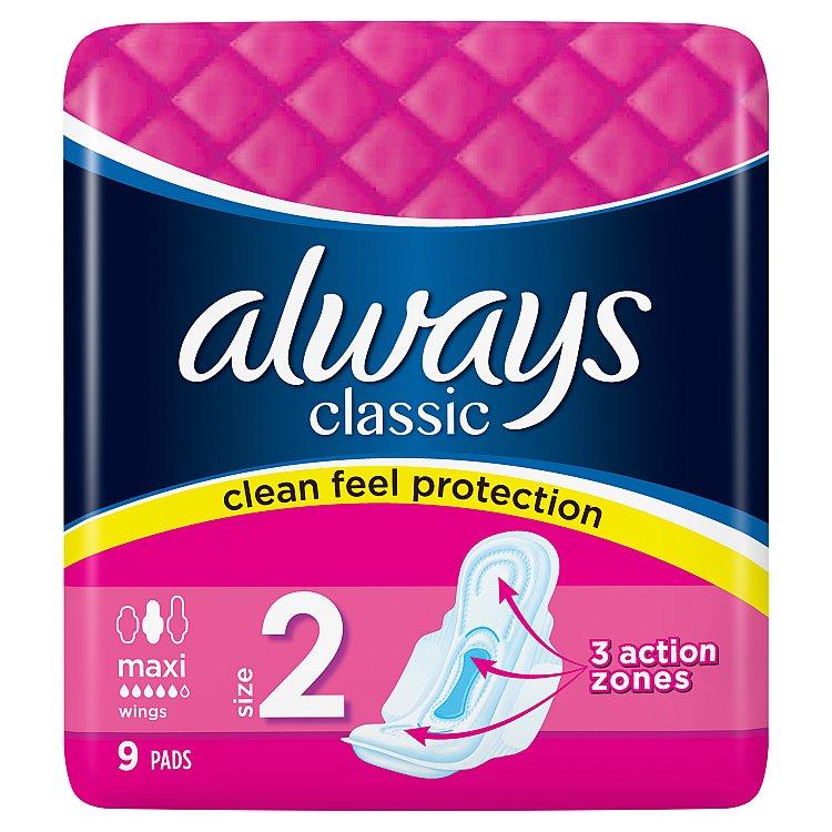 Fotografie Always Classic Maxi hygienické vložky 9 ks/bal.