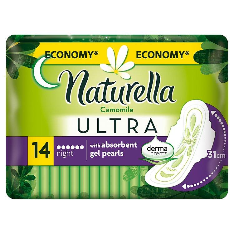 Fotografie Naturella Camomile Ultra night hygienické vložky s jemnou vůní 14 ks/bal.