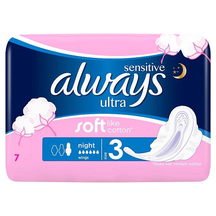 Always Sensitive Ultra night hygienické vložky 7 ks/bal.