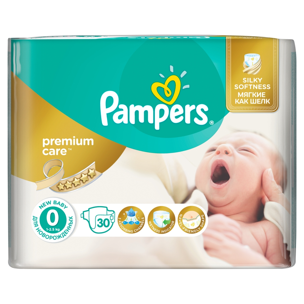 Pampers Premium Care pleny 0 Newborn, 1-2,5 kg 30 ks