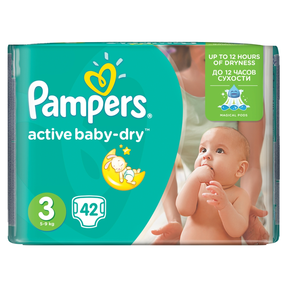 Pampers Active Baby-Dry pleny 3 Midi, 5-9 kg 42 ks