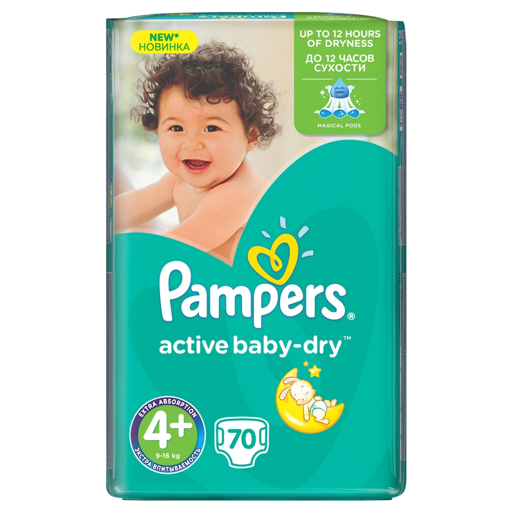Pampers Active Baby-Dry pleny 4+ Maxi+, 9-16 kg 70 ks