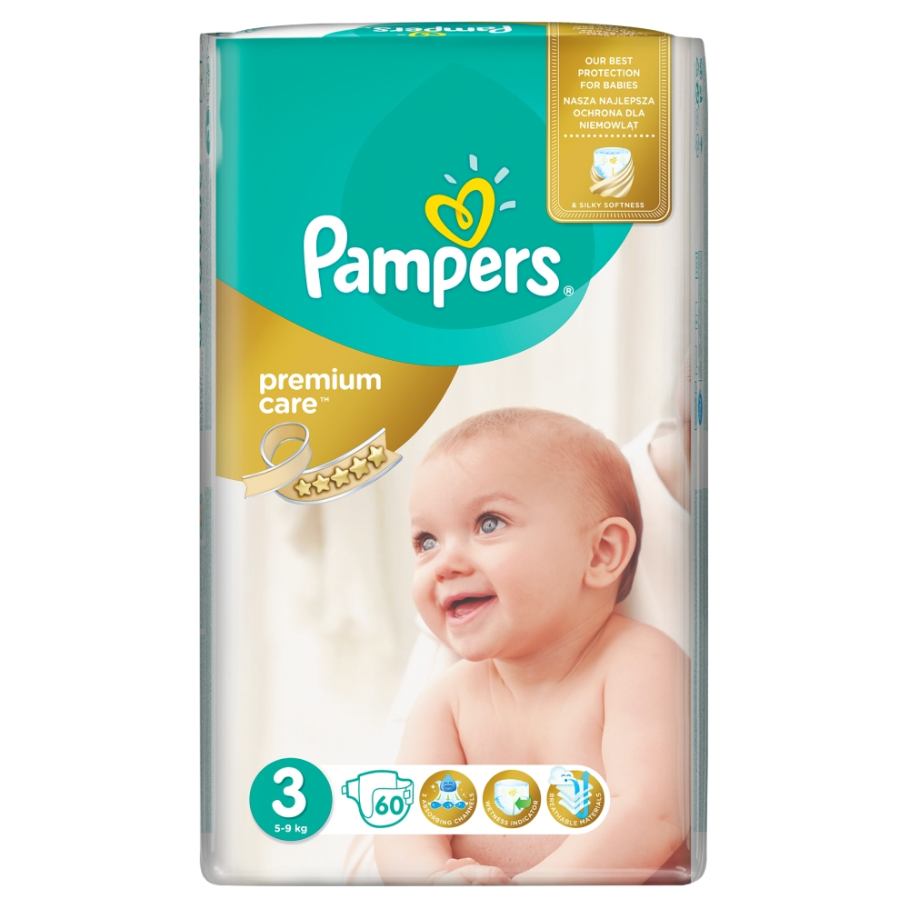 Pampers Premium Care pleny 3 Midi, 5-9 kg 60 ks