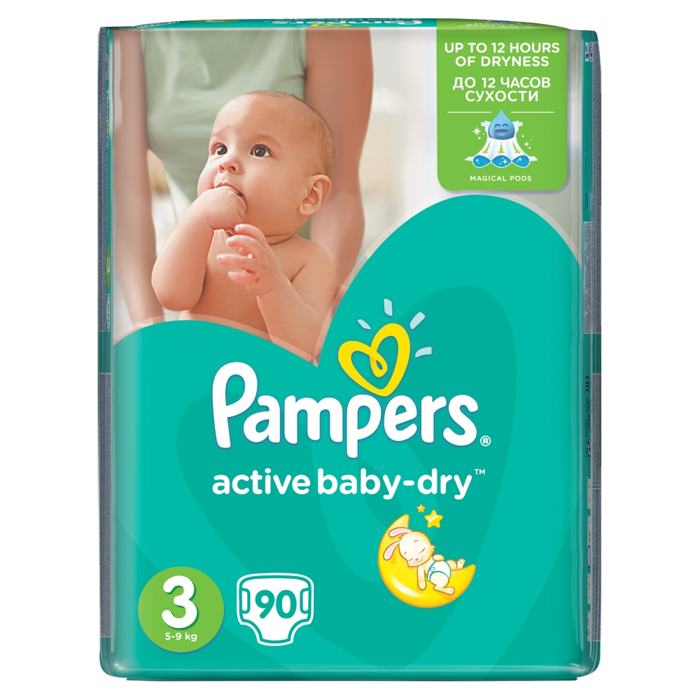 Pampers Active Baby-Dry pleny 3 Midi, 5-9 kg 90 ks