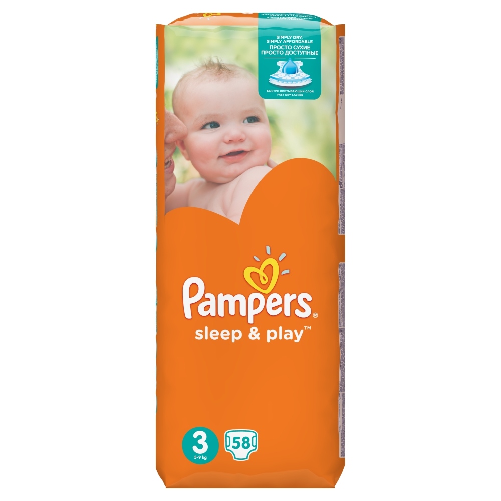 Fotografie Pampers Sleep&Play pleny 3 Midi, 5-9 kg 58 ks