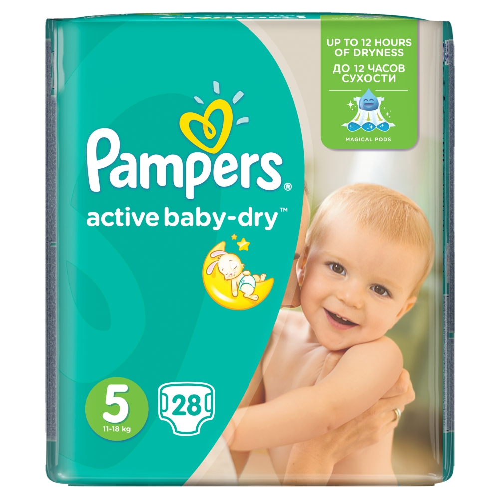 Pampers Active Baby-Dry pleny 5 Junior, 11-18 kg 28 ks
