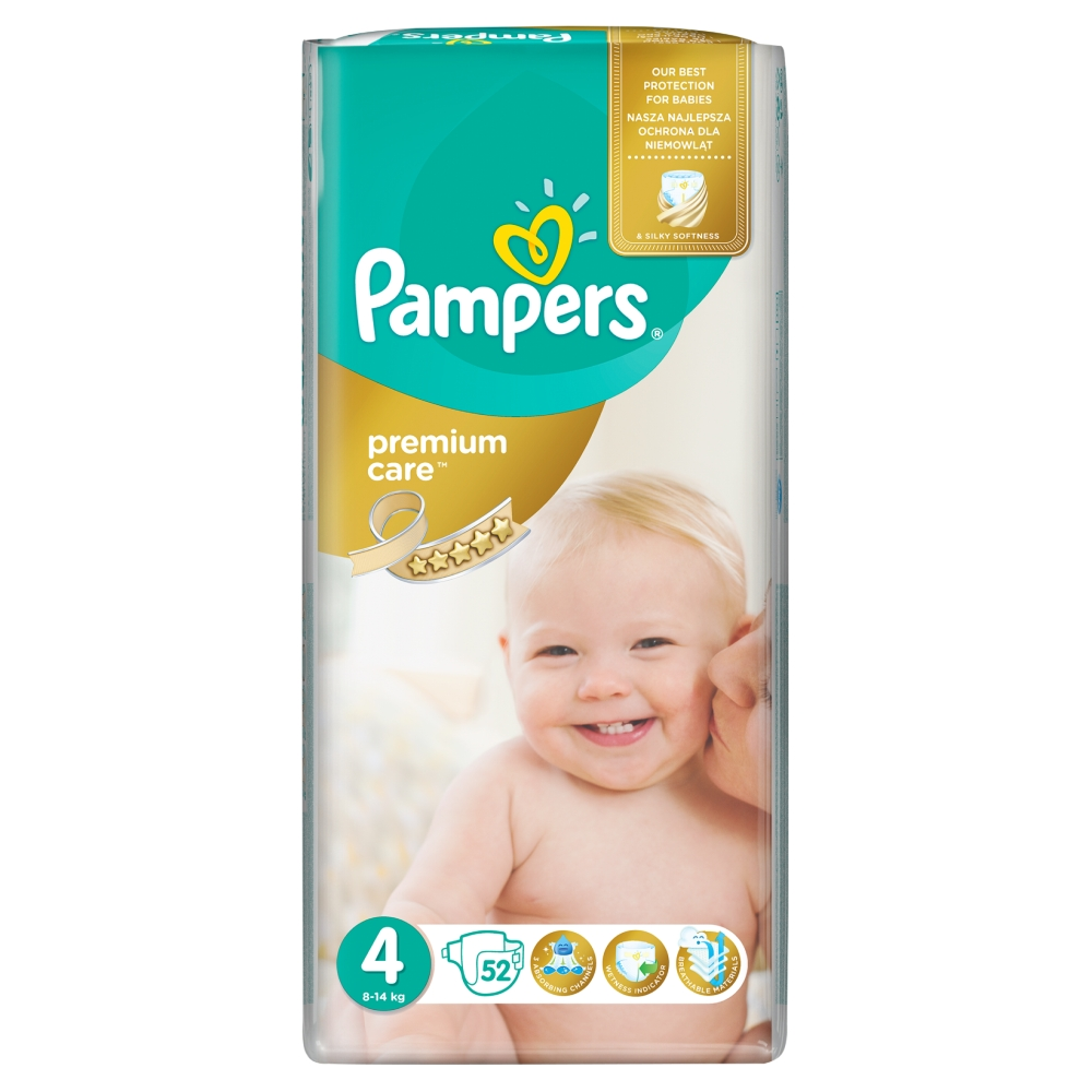 Pampers Premium Care pleny 4 Maxi, 8-14 kg 52 ks