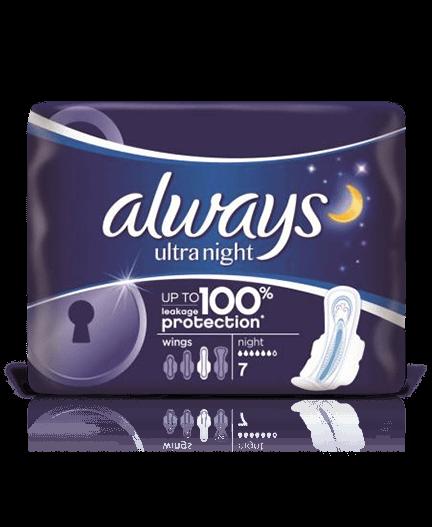 Always Ultra Night hygienické vložky 7 ks