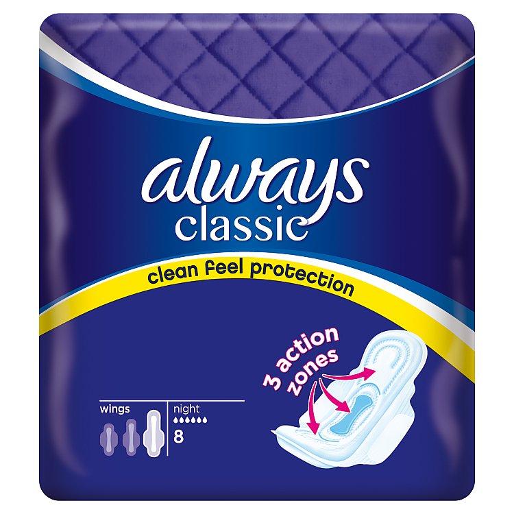 Always Classic Night hygienické vložky 8 ks/bal.