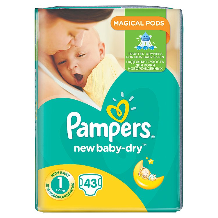 Pampers New Baby-Dry pleny 1 Newborn, 2-5 kg 43 ks