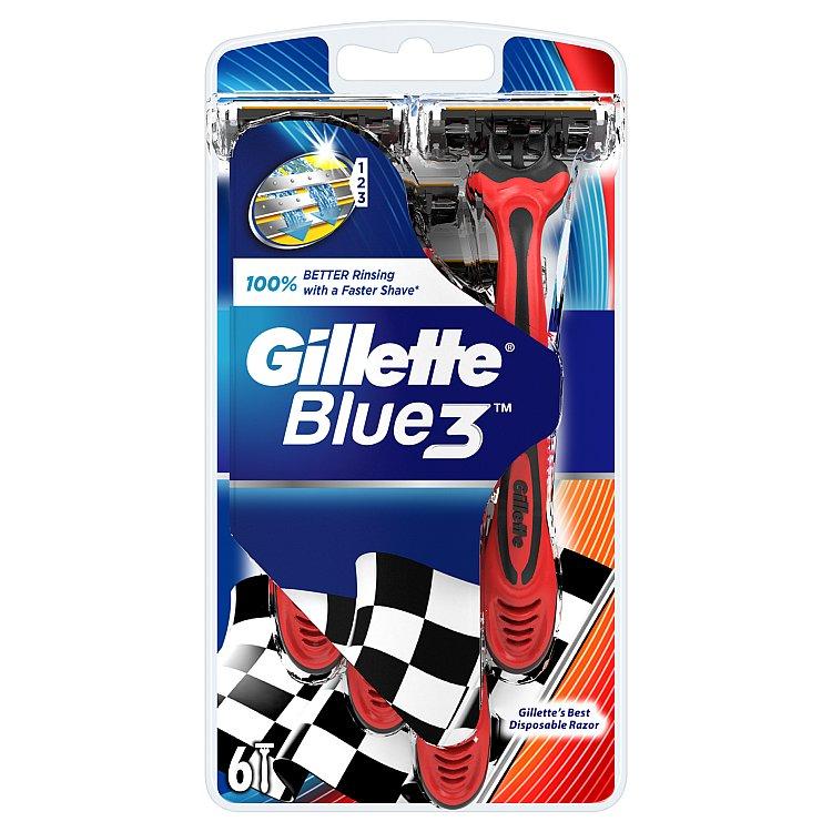 Fotografie Gillette Blue 3 Pohotové holítko s lubrikačním páskem 6 ks