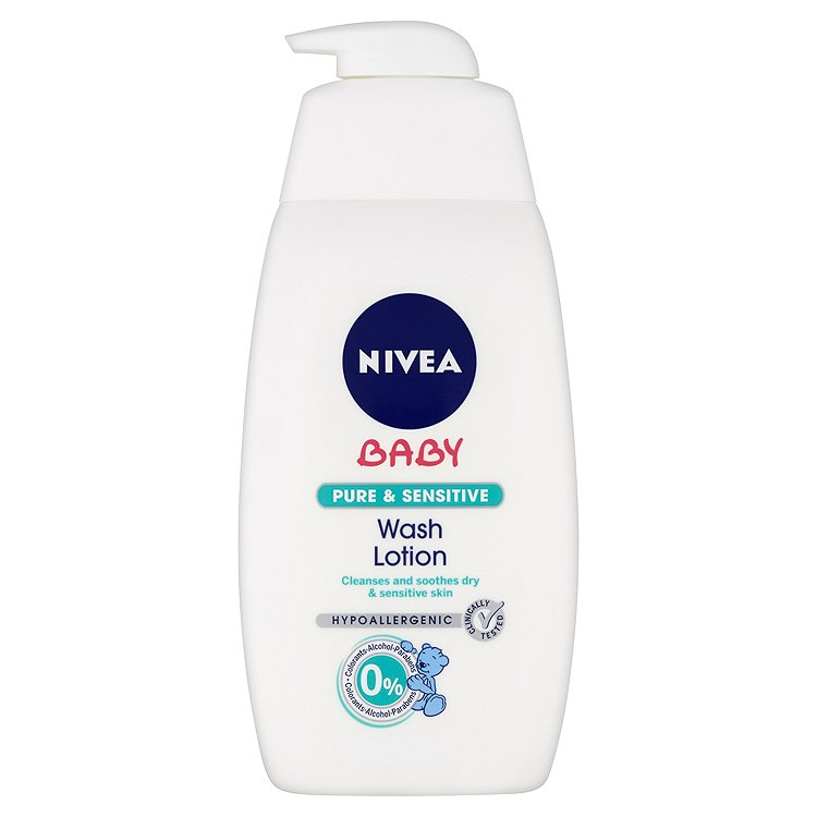 Fotografie Nivea Baby Pure & Sensitive mycí gel na tvář a tělo 500 ml
