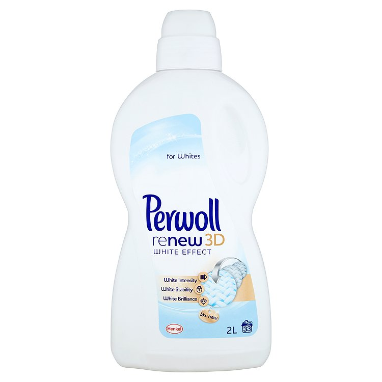 Fotografie Perwoll ReNew 3D White Effect prací prostředek na bílé prádlo, 33 praní 2 l