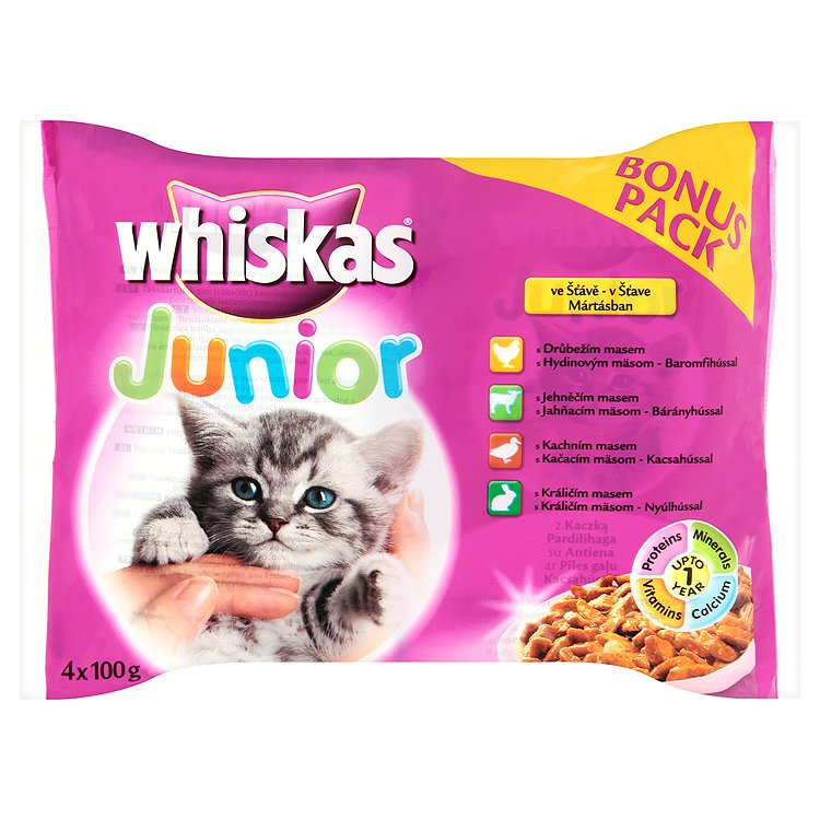 Kap.WHISKAS Junior masovy vyber ve stave 4ks 400g 4 x 100 g