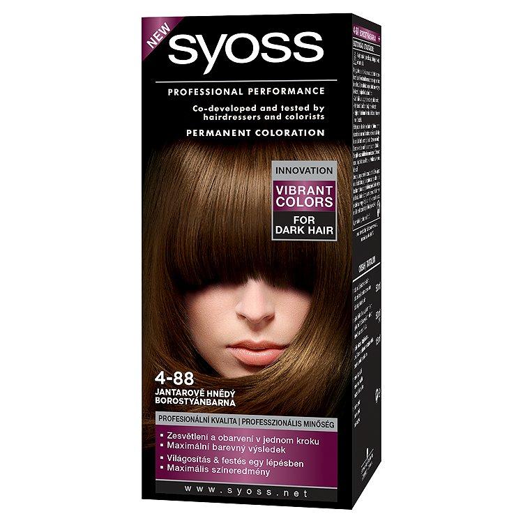 Fotografie Syoss Color barva na vlasy Jantarově hnědý 4-88