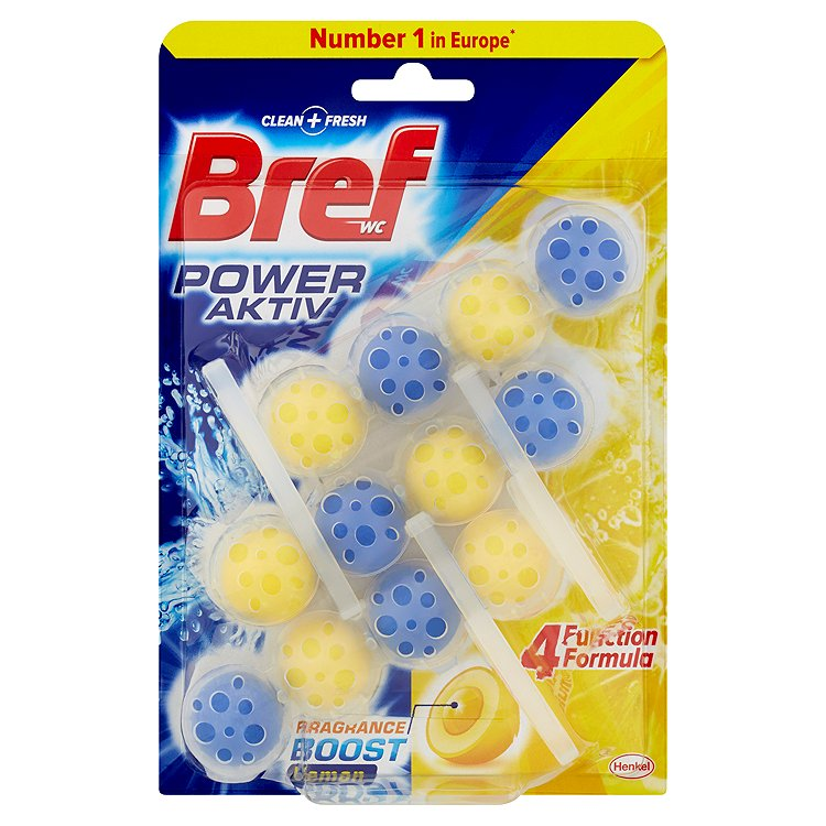 Fotografie Bref Power Aktiv WC blok, Lemon 3 x 50 g