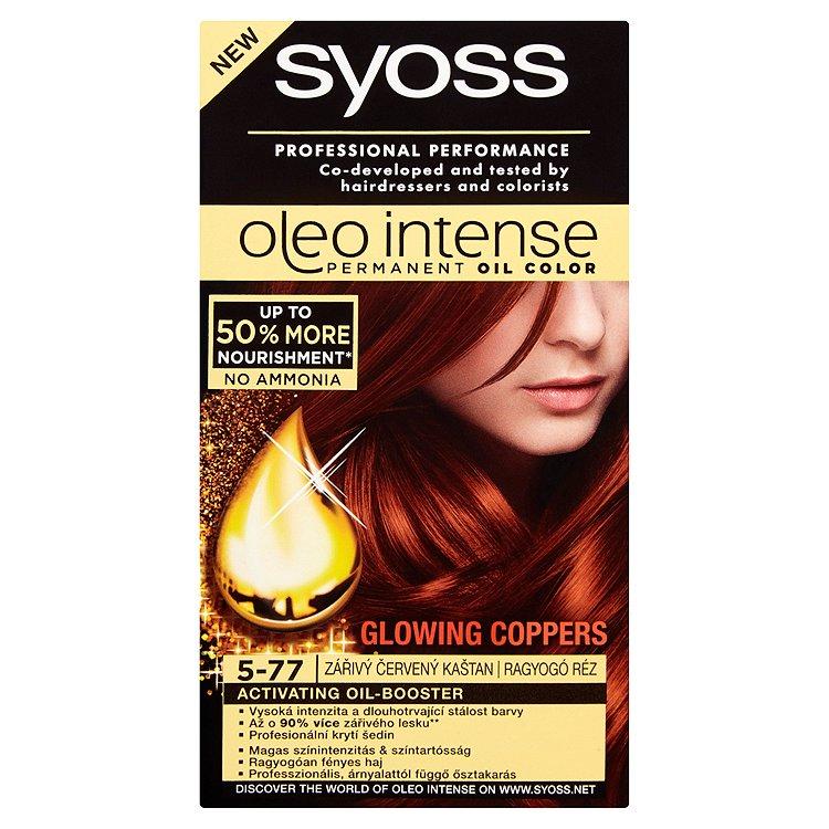 Fotografie Syoss Oleo Intense barva na vlasy Zářivý červený kaštan 5-77