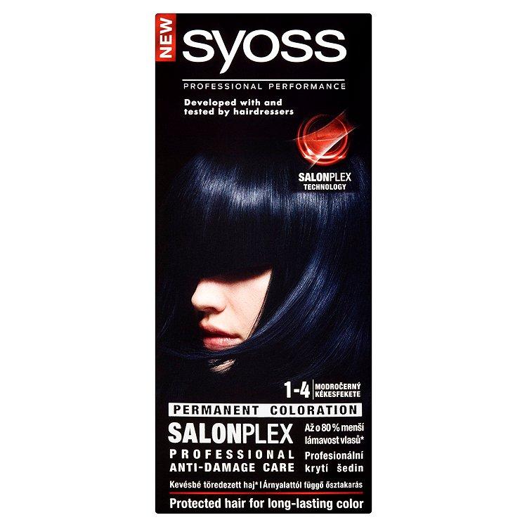 Fotografie Syoss barva na vlasy Modročerný 1-4