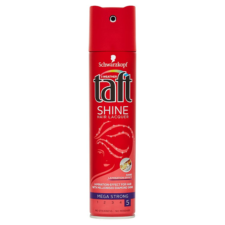 Fotografie Taft Shine lak na vlasy mega silná fixace 250 ml