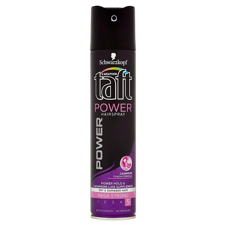 Fotografie Taft Power Cashmere lak na vlasy mega silná fixace 250 ml