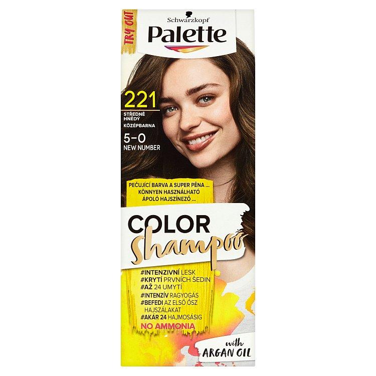 Fotografie Schwarzkopf Palette Color Shampoo barva na vlasy Středně Hnědý 221